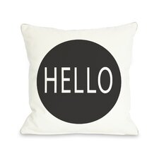 Hello Circle Throw Pillow