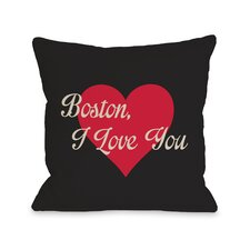 Boston I Love You Heart Pillow