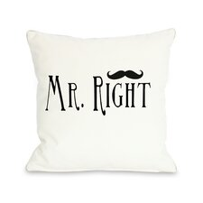 Mr Right Mustache Pillow
