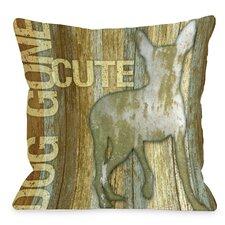 Doggy Décor Dog Gone Cute Wood Throw Pillow