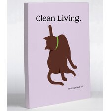 Doggy Decor Clean Living Cat Graphic Art on Canvas