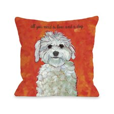 Doggy Décor Love & A Dog Throw Pillow