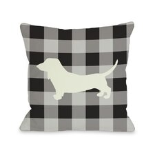 Doggy Décor Gingham Silhouette Doxie Pillow