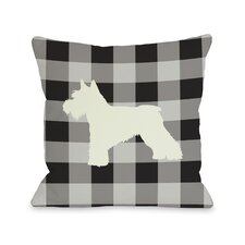 Doggy Décor Gingham Silhouette Schnazuer Pillow