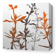<strong>Inhabit</strong> Morning Glory Wildflower Stretched Wall Art in Silver and Rust