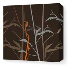 Morning Glory Tall Grass Stretched Wall Art in Charcoal and Rust
