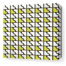 Estrella Faux Houndstooth Stretched Wall Art in Grass