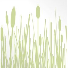 Cattails Stretched Wall Art in Celery