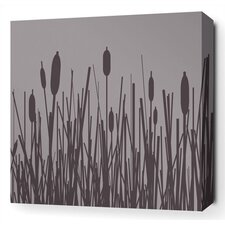 Cattails Stretched Wall Art in Mineral