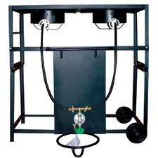 <strong>King Kooker</strong> Two Burner Outdoor Cooking Cart Package