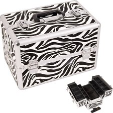<strong>Just Case</strong> Zebra Pattern Professional Cosmetic Makeup Train Case