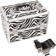 Zebra Pattern Professional Cosmetic Makeup Train Case with Brush Holder