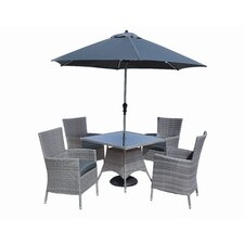 Sandringham 6 Piece Dining Set with Parasol