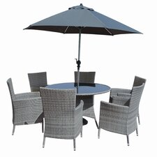 Kensington Deluxe 6 Piece Dining Table Set with Parasol