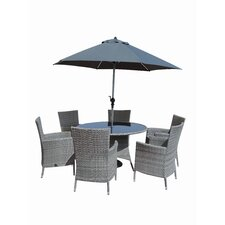 Kensington Deluxe 8 Piece Dining Set with Parasol