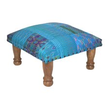 Kantha Stitched Ikat Fabric Footstool