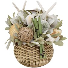 Summer Beach Bungalow Desk Top Plant in Basket