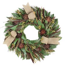 Autumn Caramel and Sage Harvest Wreath