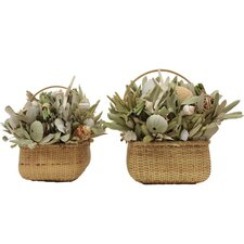 <strong>Urban Florals</strong> 2 Piece Summer Beach Bungalow Desk Top Plant in Basket