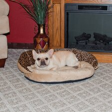 Plush Bolster Leopard Bolster Dog Bed