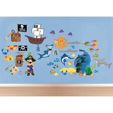 Peel and Play Pirate Island Wall Decal Play Set