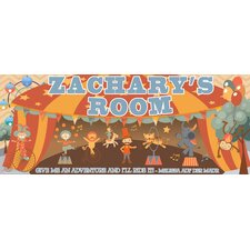 Retro Circus Boy Name Sign Wall Mural