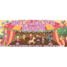 Retro Circus Girl Name Sign Wall Mural