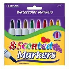 8 Color Scented Jumbo Watercolor Marker Set