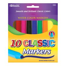 <strong>Bazic</strong> 10 Classic Colors Broad Line Jumbo Watercolor Marker Set