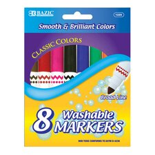 <strong>Bazic</strong> 8 Color Broad Line Jumbo Washable Marker Set