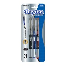 <strong>Bazic</strong> Dayton Rollerball Pen with Metal Clip (Set of 3)