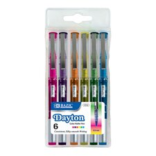 Dayton Fashion Rollerball Pen with Metal Clip (Set of 6)