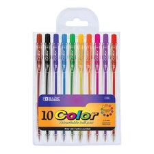 10 Retractable Color Pen