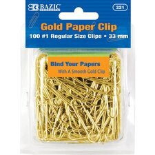 No.1 Regular (33mm) Gold Paper Clip Set