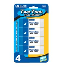 Two-Tone Vinyl Eraser (Set of 4)