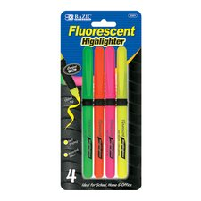Pen Style Fluorescent Highlighter with Grip (Set of 4)