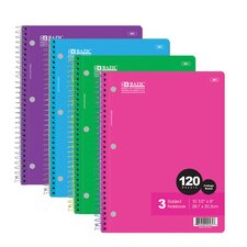 <strong>Bazic</strong> 120 Ct. 3-Subject Spiral Notebook (Set of 24)