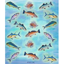 <strong>Betsy Drake Interiors</strong> Assorted Fish Polyester Throw