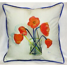 Garden Poppies in Vase Indoor / Outdoor Pillow