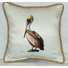 <strong>Betsy Drake Interiors</strong> Coastal Pelican Border Indoor / Outdoor Pillow