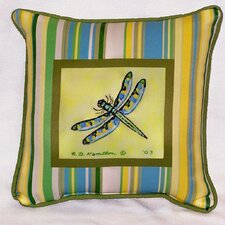 <strong>Betsy Drake Interiors</strong> Garden Stripe Dragonfly Indoor / Outdoor Pillow