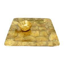 <strong>Dekorasyon Gifts & Decor</strong> Capiz Square Mini Bowl and Tray