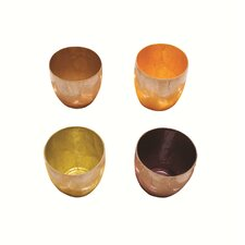 4 Piece Capiz Shell Solid Tealight/Cup Votive Set