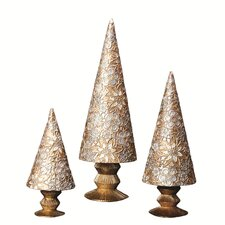 Floral Lace Fancy Cone Tree (Set of 3)