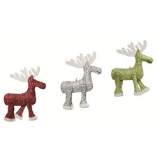 Glittered Embossed Moose Ornaments (Set of 3)
