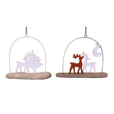Glittered Reindeers with Tree and Moon on Driftwood Ornament (Set of 2)