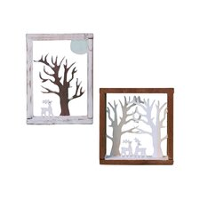 Shadow Box with Reindeers and Trees Ornament (Set of 2)