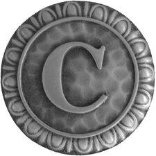 "Jewel Initial Letter C 1.375"" Round Knob"
