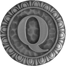 "Jewel Initial Letter Q 1.375"" Round Knob"