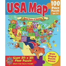 USA Map 100 Piece Floor Puzzle